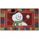Snowball Snowman 17 in. x 29 in. Printed Nylon Door Mat