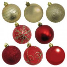 60mm Shatterproof Ornament Red/Gold in PVC Tube (50-Count)