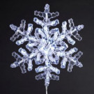 35-Light 12 in. Clear Crystal Snowflake with Cool White LED Indoor/Outdoor Light Set