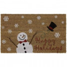 Vinyl Back Coir Merry Snow Hat 17 in. x 29 in. Door Mat