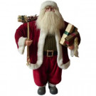 36 in. Santa Traditional Standing Red Suit Holding Presents and Gift Bag