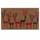 Christmas Deer 29 in. x 17 in. Coir and Vinyl Door Mat